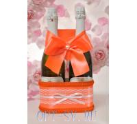 Украшение на свадебное шампанское в оранжевом