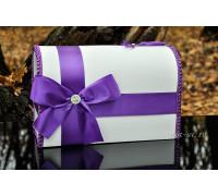 Свадебный сундучок для денег фиолетового цвета глухой