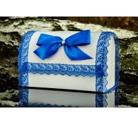 Свадебный сундучок с кружевом синего цвета