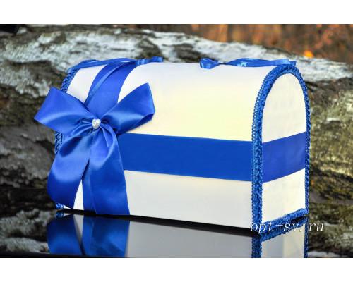 Свадебный сундучок для денег синего цвета глухой