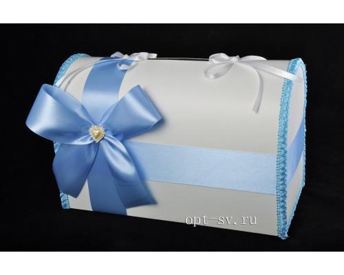 Свадебный сундучок для денег голубого цвета глухой