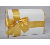 Свадебный сундучок для денег золотого цвета глухой