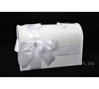 Свадебный сундучок для денег белого цвета глухой