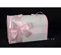 Свадебный сундучок для денег розового цвета глухой