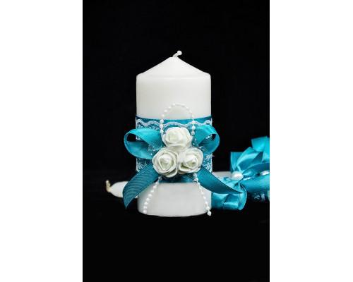 """Набор свечей на свадьбу """"Белые розы"""" с декором в бирюзовом цвете"""
