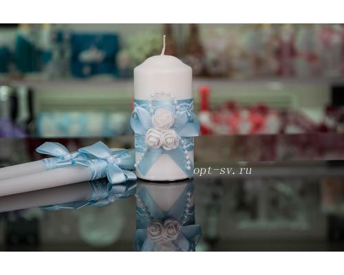 """Набор свечей на свадьбу """"Белые розы"""" с декором в голубом цвете"""