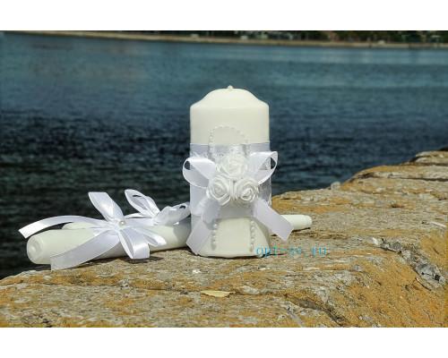 """Набор свечей на свадьбу """"Белые розы"""" с декором белого цвета"""