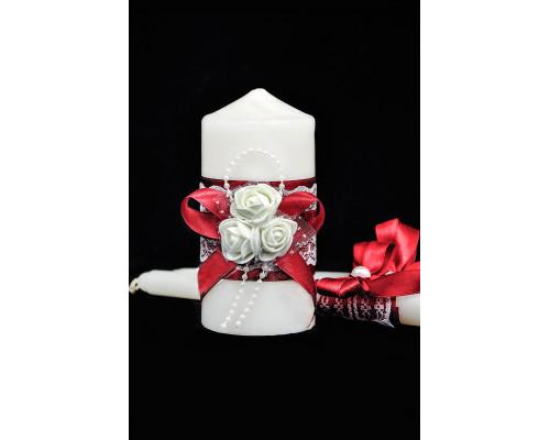 """Набор свечей на свадьбу """"Белые розы"""" с декором в бордовом цвете"""