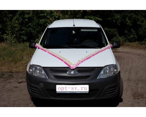 Лента рюш атласная на свадебную машину айвори-розового цвета